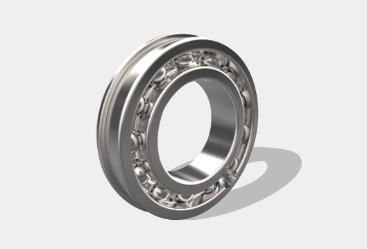 带装球缺口、止动槽和止动环的单列 d 25-95mm
