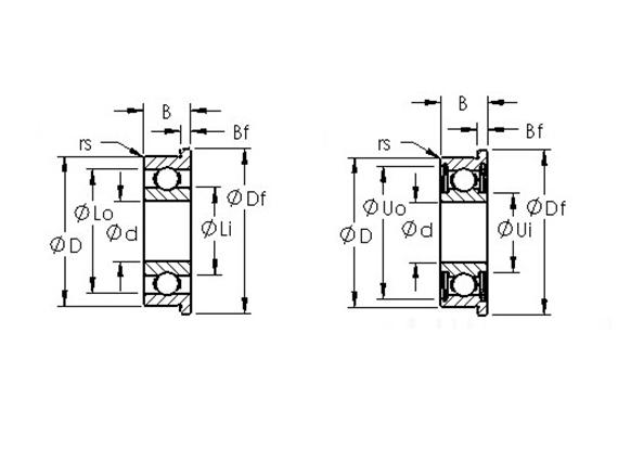 軸承鋼英制微型法蘭軸承 (開式、ZZ、2RS)