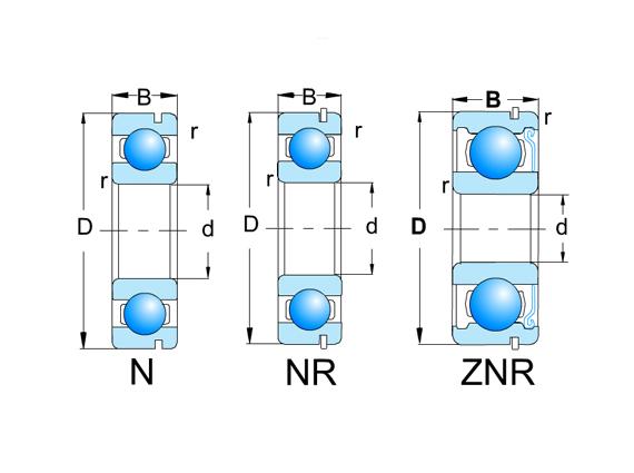 帶止動環槽,帶止動環槽及防塵蓋型 62/N,NR,ZNR系列