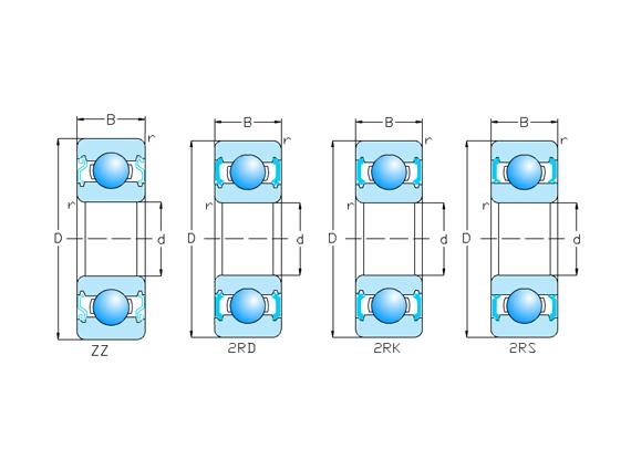 帶防塵蓋,密封圈型 16/Z,ZZ,RS,2RS,2RD,2RK系列