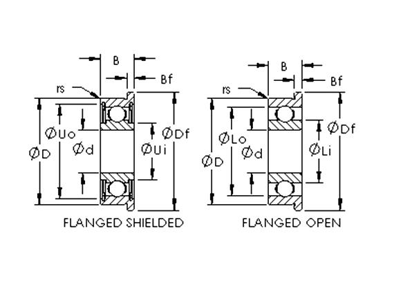 不銹鋼公制微型法蘭軸承(開式、ZZ、2RS)