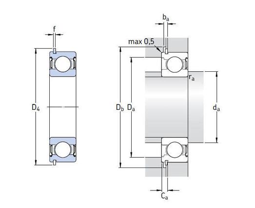 带装球缺口、止动槽和止动环 d 25-95mm
