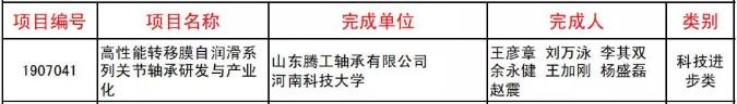 山东腾工轴承有限公司荣获中国机械工业科学技术奖二等奖