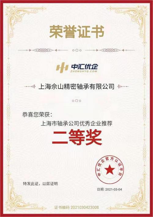 SWC荣获上海市轴承公司优秀企业推荐第二名