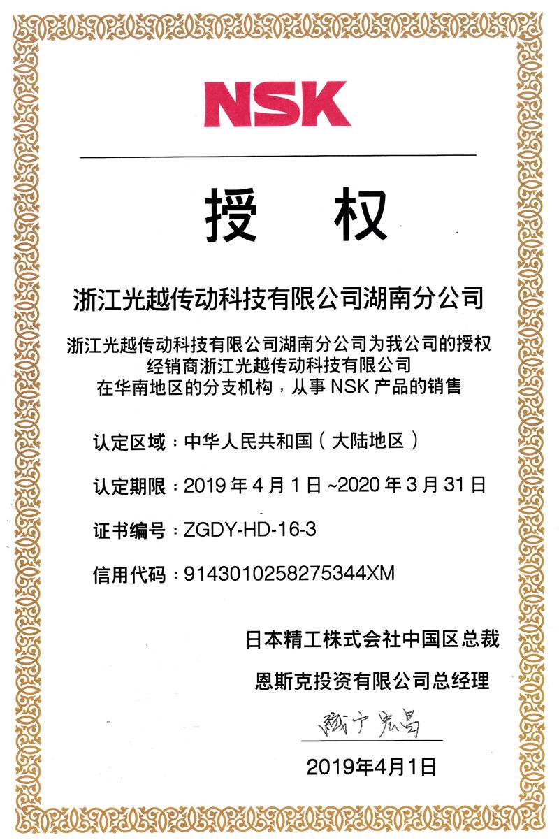 NSK授权 湖南分公司 2019年度